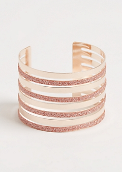 Rose Gold Diamond Dust Layered Cuff