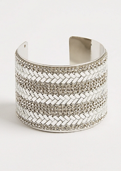 Silver Stone Embellished Cuff