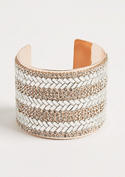 Rose Gold Stone Embellished Cuff