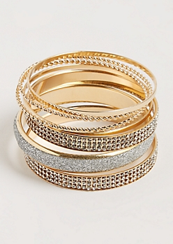 7-Pack Gold Twisted & Embellished Bangle Set