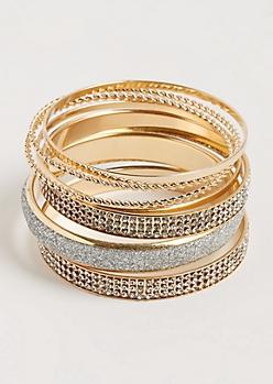 7-Pack Gold Twisted & Embellished Bangle Set