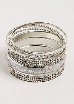 7-Pack Silver Twisted & Embellished Bangle Set