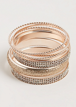7-Pack Rose Gold Twisted & Embellished Bangle Set