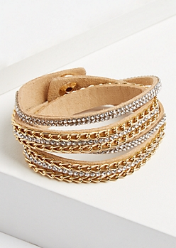 Tan Stone & Chain Wrap Bracelet