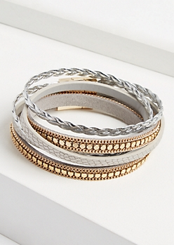Mixed Metallic Wrap Bracelet