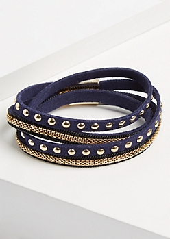 Navy Studded Wrap Bracelet