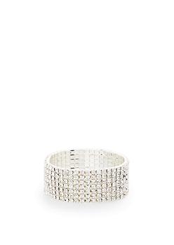 Rhinestone Row Cuff Bracelet