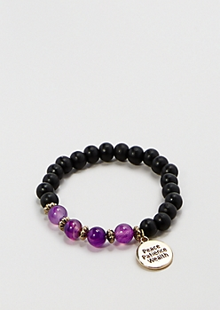 Peace Amethyst Beaded Bracelet