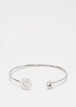 Silver Shimmer Initial C Bangle