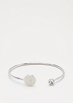 Silver Shimmer Initial J Bangle
