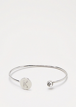Silver Shimmer Initial K Bangle