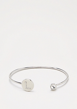 Silver Shimmer Initial L Bangle