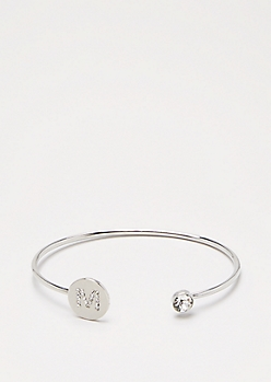 Silver Shimmer Initial M Bangle