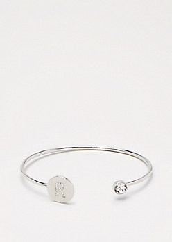Silver Shimmer Initial R Bangle