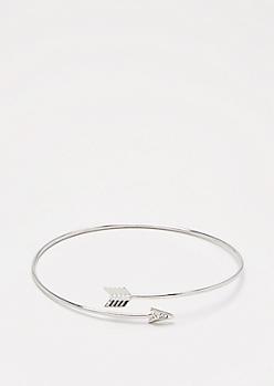 Silver Encircled Arrow Cuff