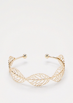 Gold Filigree Leaf Cuff
