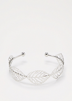 Silver Filigree Leaf Cuff