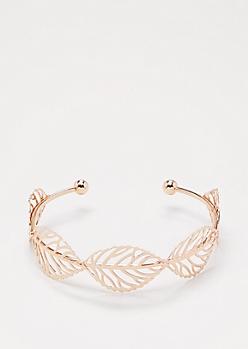 Rose Gold Filigree Leaf Cuff
