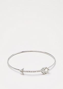 Silver Shimmer Arrow Bangle