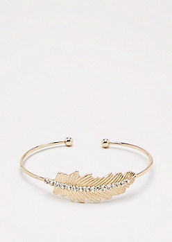Gold Crystal Feather Bangle