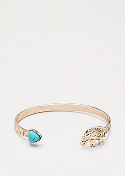 Gold Hammered Elephant Cuff