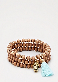 Tasseled Wooden Bead Bracelet Set
