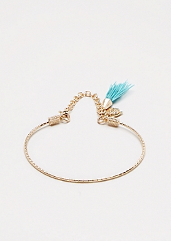 Light Turquoise Tassel Textured Cuff