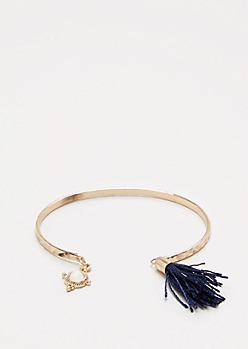 Navy Stone Tassel Cuff