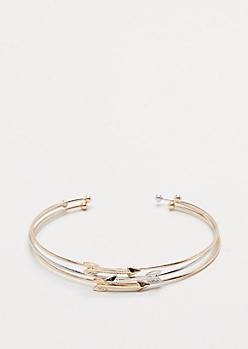 Arrow Mix Metal Cuff Trio