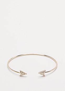Gold Rhinestone Arrow Cuff