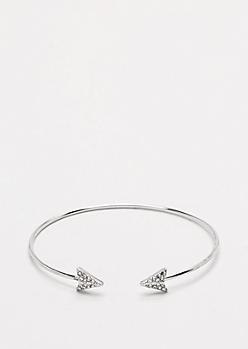 Silver Rhinestone Arrow Cuff
