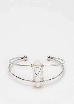 Clear Healing Stone Wire Cuff