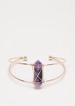 Purple Healing Stone Wire Cuff