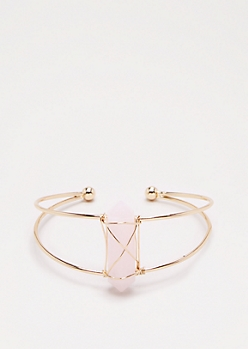 Pink Healing Stone Wire Cuff