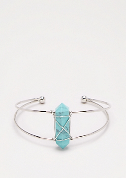 Turquoise Healing Stone Wire Cuff