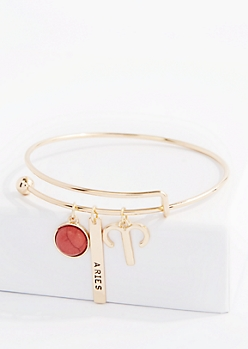 Aries Power Stone Charm Bangle