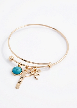 Pisces Power Stone Charm Bangle