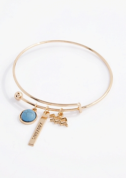 Aquarius Power Stone Charm Bangle