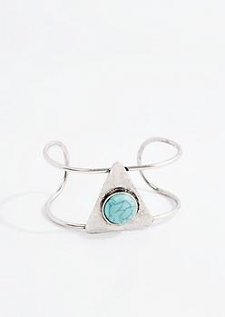 Geo Turquoise Stone Cuff