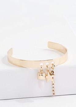 Gold Rose Diamante Starry Charm Cuff