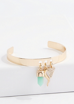Gold Geo Mint Diamante Charm Cuff