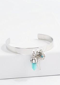 Silver Blue Diamante Dreamcatcher Charm Cuff