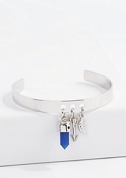 Silver Navy Diamante Arrow Charm Cuff