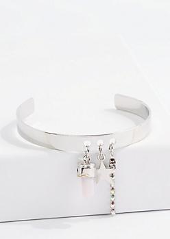 Silver Rose Diamante Starry Charm Cuff