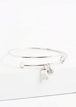 Alabama Silver Crystal Charm Bangle