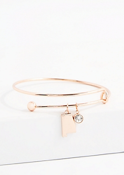 Alabama Rose Gold Crystal Charm Bangle