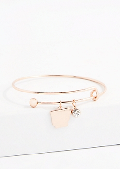 Arkansas Rose Gold Crystal Charm Bangle