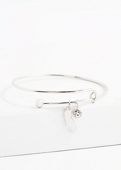 California Silver Crystal Charm Bangle