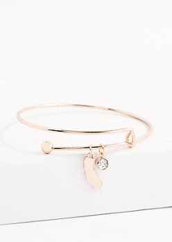 California Rose Gold Crystal Charm Bangle