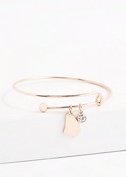 Georgia Rose Gold Crystal Charm Bangle
